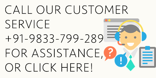 Call our customer care service on +91 9833-799-289